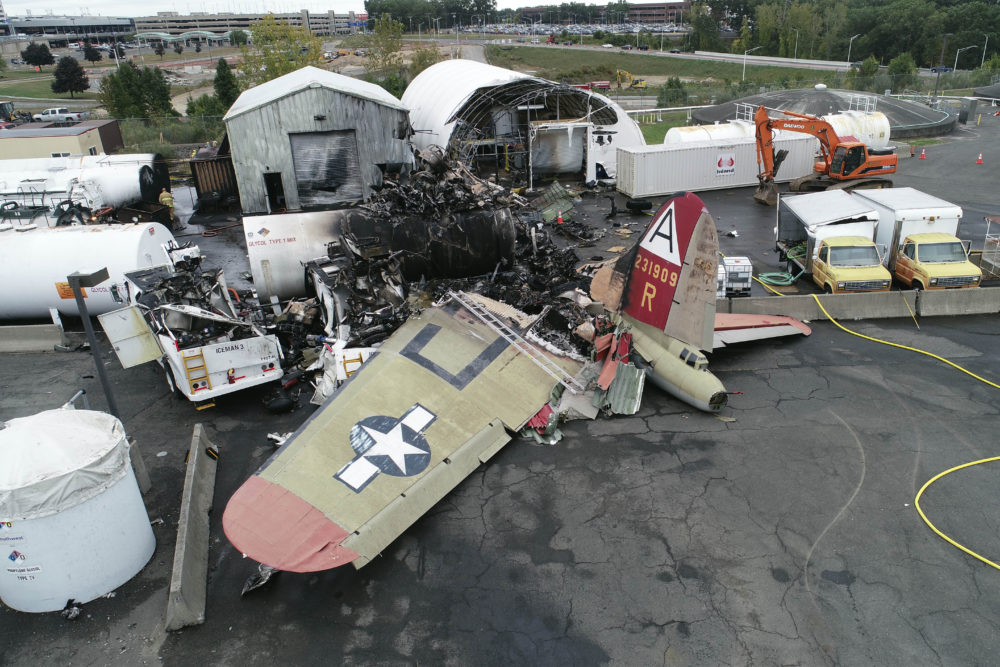 This photo, provided by the National Transportation Safety Board, shows damage from a World War II-era B-17 bomber plane that crashed on Oct. 2, 2019, at Bradley International Airport in Windsor Locks, Conn. (NTSB via AP, File)