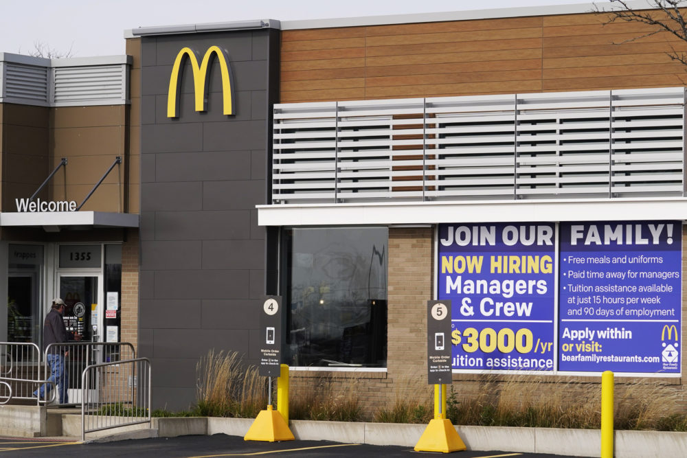 In this Nov. 19, 2020, file photo, a hiring sign is displayed outside of McDonald's in Buffalo Grove, Ill. (Nam Y. Huh/AP File)