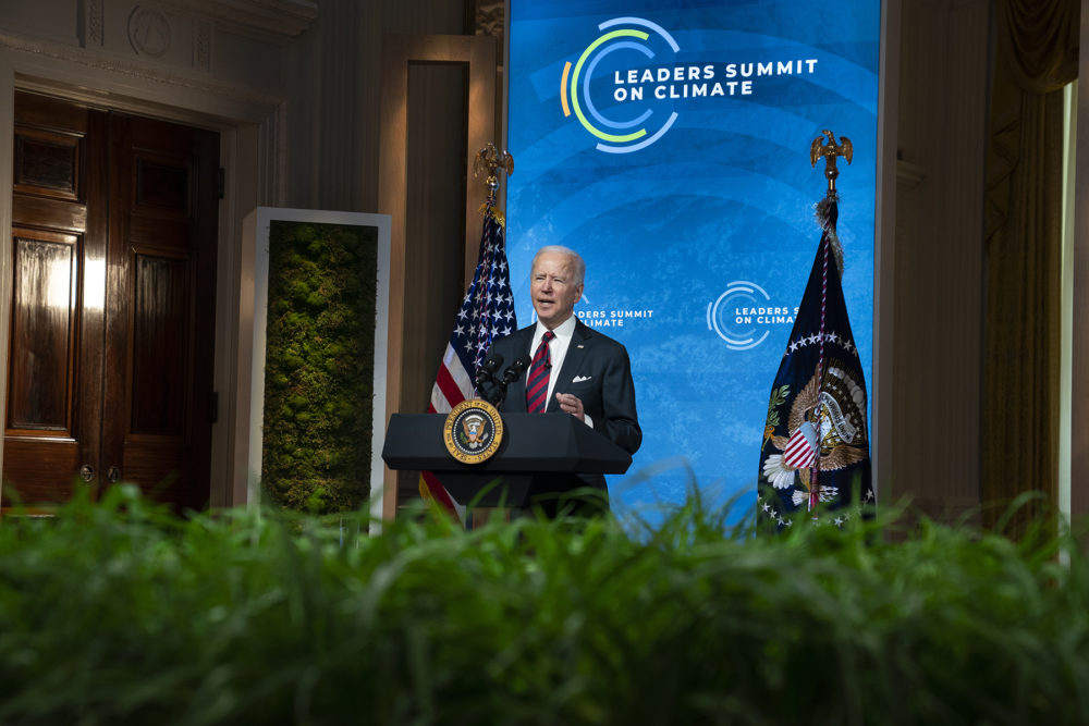 President Biden speaks to the virtual Leaders Summit on Climate, from the East Room of the White House on Thursday, April 22, 2021, in Washington, D.C. (Evan Vucci/AP)