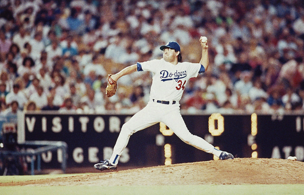 Los Angeles Dodgers pitcher Fernando Valenzuela throws a pitch on his way to a no-hitter against the St. Louis Cardinals at Dodger Stadium on Friday, June 29, 1990 in Los Angeles. The Dodgers won the game 6-0 as Valenzuela pitched the first no-hitter of his career. (Sam Jones/AP)
