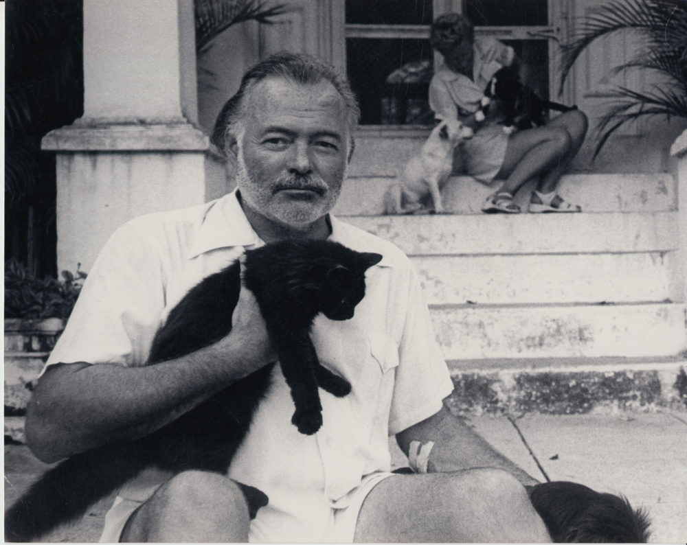 Ernest Hemingway at his home in Cuba in the 1950's (Courtesy AE Hotchner/JFK Library)