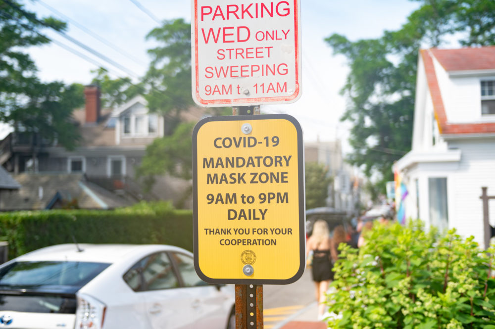 A sign in Provincetown, Massachusetts on July 10, 2020 mandates mask-wearing. (Zach D Roberts/NurPhoto via Getty Images)