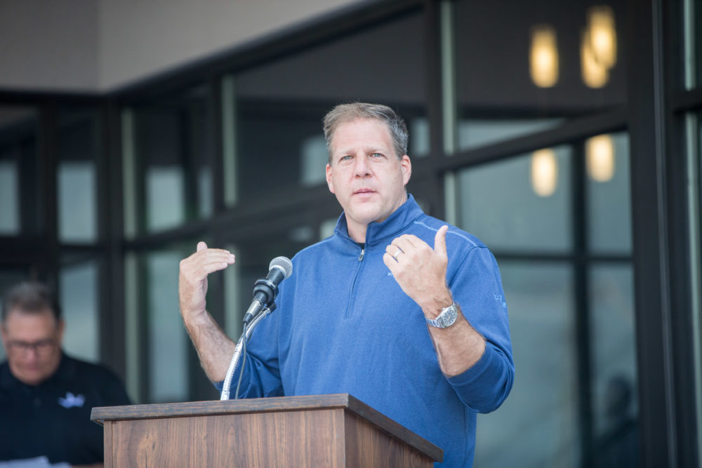New Hampshire Gov. Christopher Sununu during a press conference on Sept. 2, 2020 in Manchester, New Hampshire. (Scott Eisen/Getty Images for DraftKings)