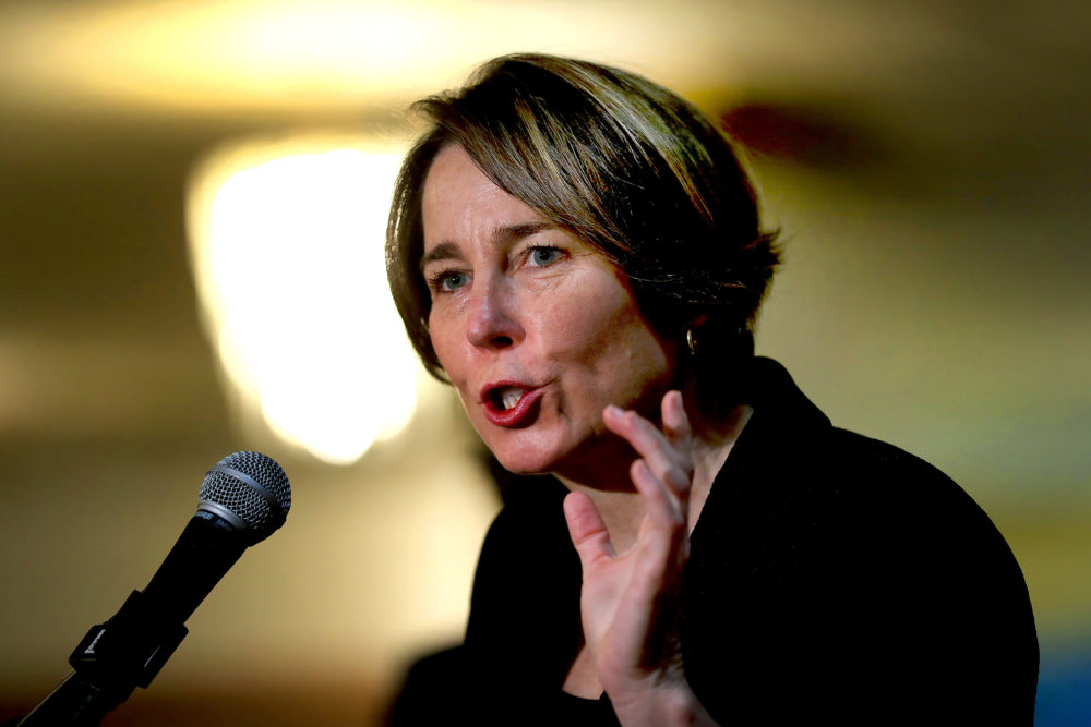 Attorney General Maura Healey speaks while visiting at the Russell Auditorium of the Codman Square Health Center in Boston's Dorchester on Feb. 23, 2021. (John Tlumacki/The Boston Globe via Getty Images)