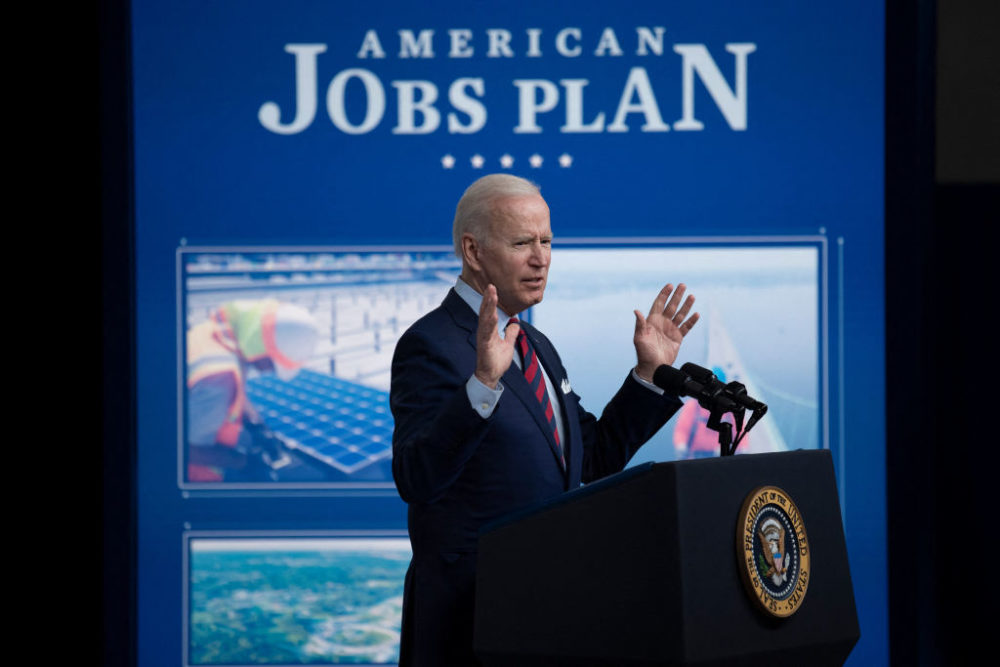 President Joe Biden speaks about infrastructure investment from the Eisenhower Executive Office Building on the White House campus on April 7, 2021, in Washington, DC. (Brendan Smialowski/AFP via Getty Images)