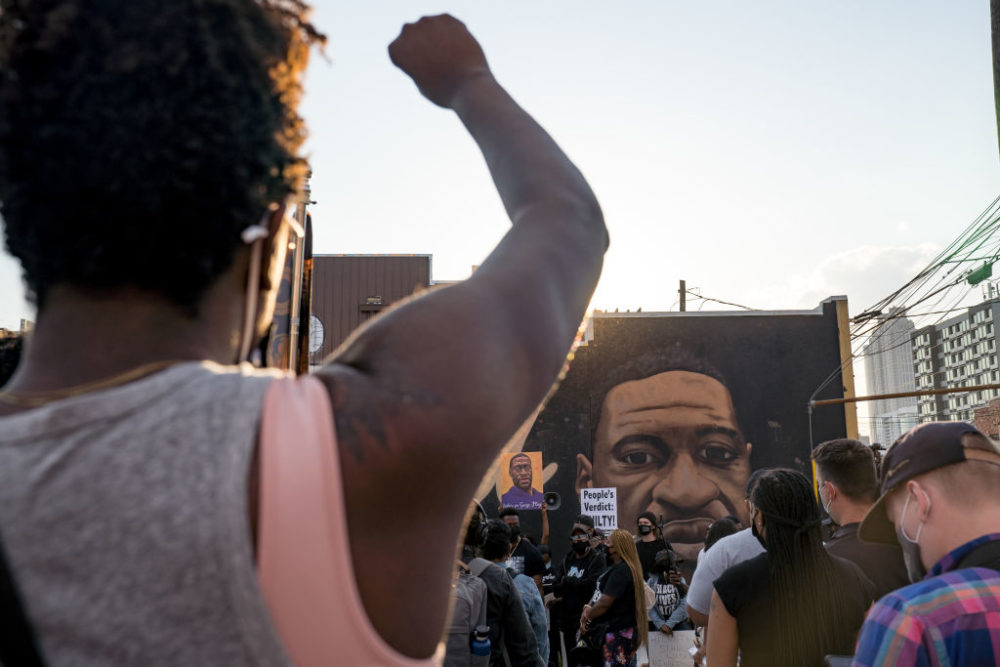 People march through the streets after the verdict was announced for Derek Chauvin on April 20, 2021 in Atlanta, United States. The jury found Chauvin guilty on all three charges. (Megan Varner/Getty Images)