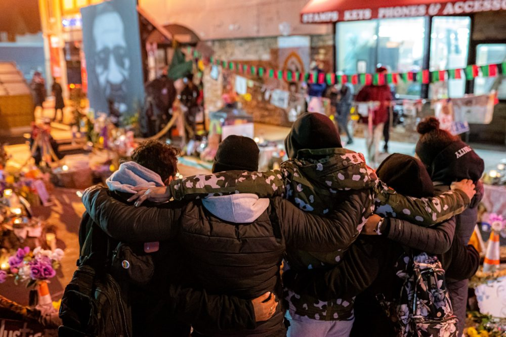Mourners gather for a vigil for George Floyd following the verdict in the Derek Chauvin trial on April 20, 2021 in Minneapolis, Minnesota. (Nathan Howard/Getty Images)
