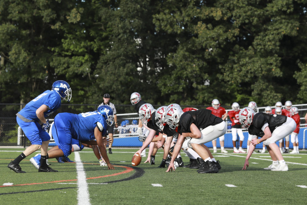 Wakefield Memorial takes on Methuen High School in a scrimmage game at Nicholson Stadium in Methuen, Massachusetts in 2019. (Czarnecki/MediaNews Group/Boston Herald via Getty Images)
