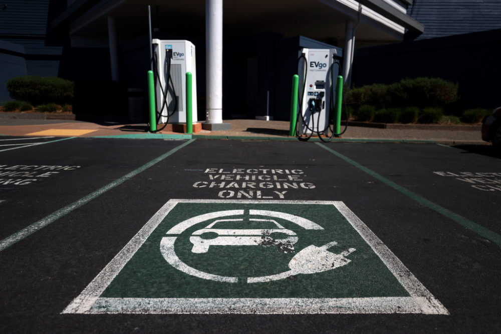 A view of electric car chargers on Sept. 23, 2020 in Corte Madera, California.  (Justin Sullivan/Getty Images)
