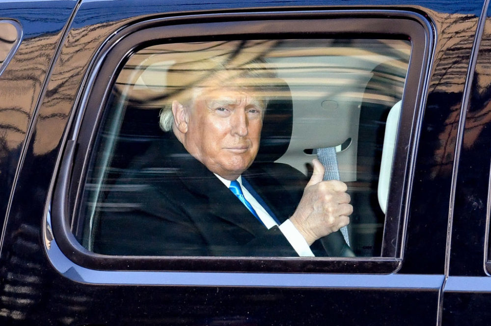 Former President Donald Trump leaves Trump Tower in Manhattan on March 09, 2021 in New York City. (James Devaney/GC Images)