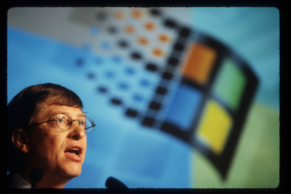Chairman and Chief Software Architect of Microsoft Corporation Bill Gates speaks at an Antitrust press conference in 1998. (Photo by Porter Gifford/Liaison)