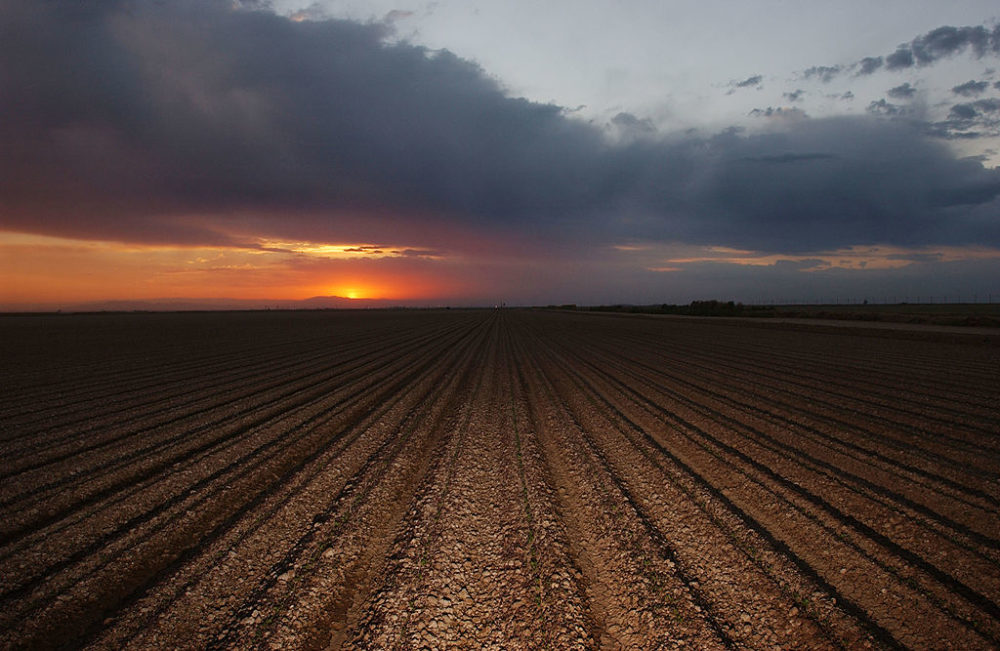 The sun sets on a plowed field that will need Colorado River water to yield a crop October 17, 2002 near El Centro, California. (David McNew/Getty Images)