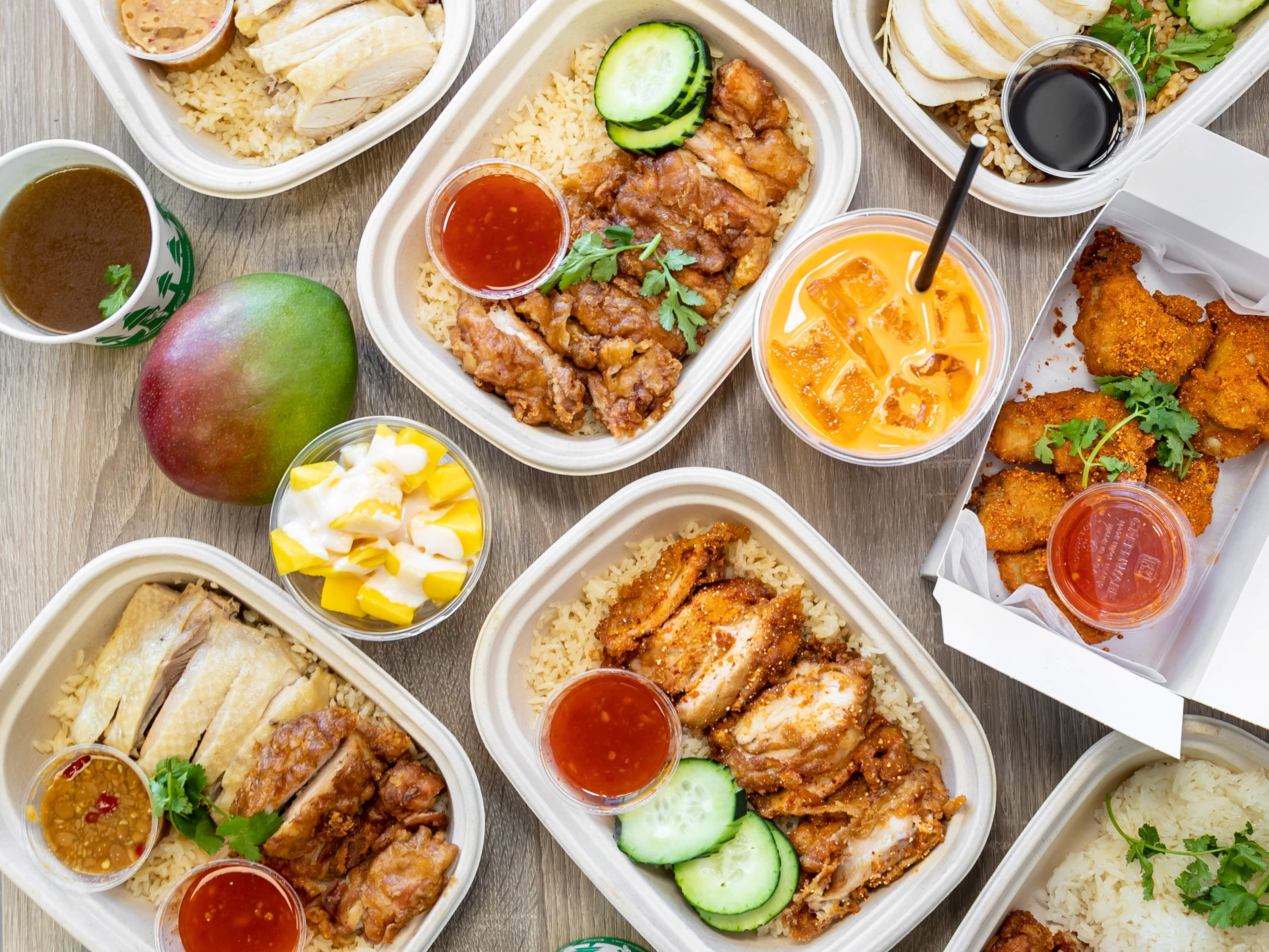 Meals from Hot Chicken Rice. (Courtesy)