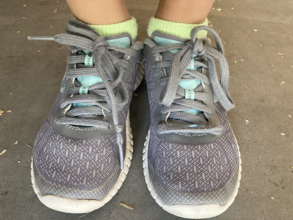 Marissa's shoes on the day she learned to tie them. (Courtesy)