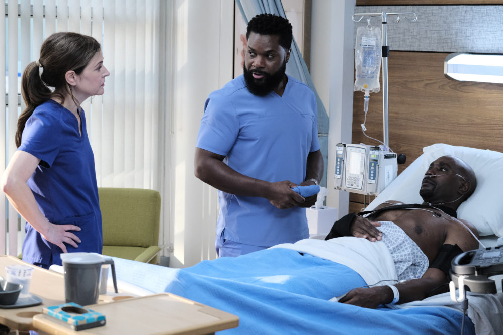 "From left to right, Jane Leeves, Malcolm-Jamal Warner and Morris Chestnut in ""The Resident."" (Guy D'Alema/FOX)"