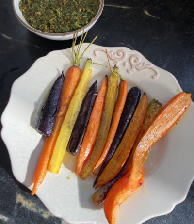 Roasted Carrots With Carrot Top Pesto (Kathy Gunst)