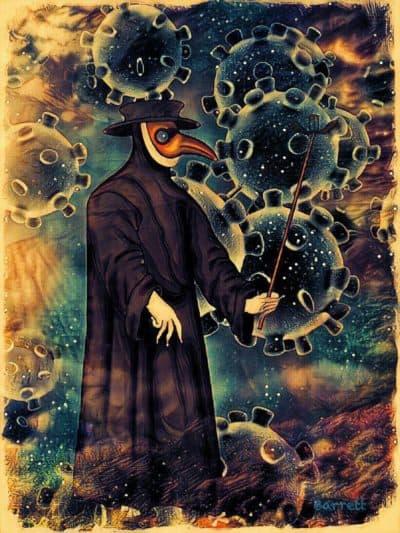 Dream-inspired artwork by Harvard psychologist Deirdre Barrett. (Courtesy Deirdre Barrett via NEPM)