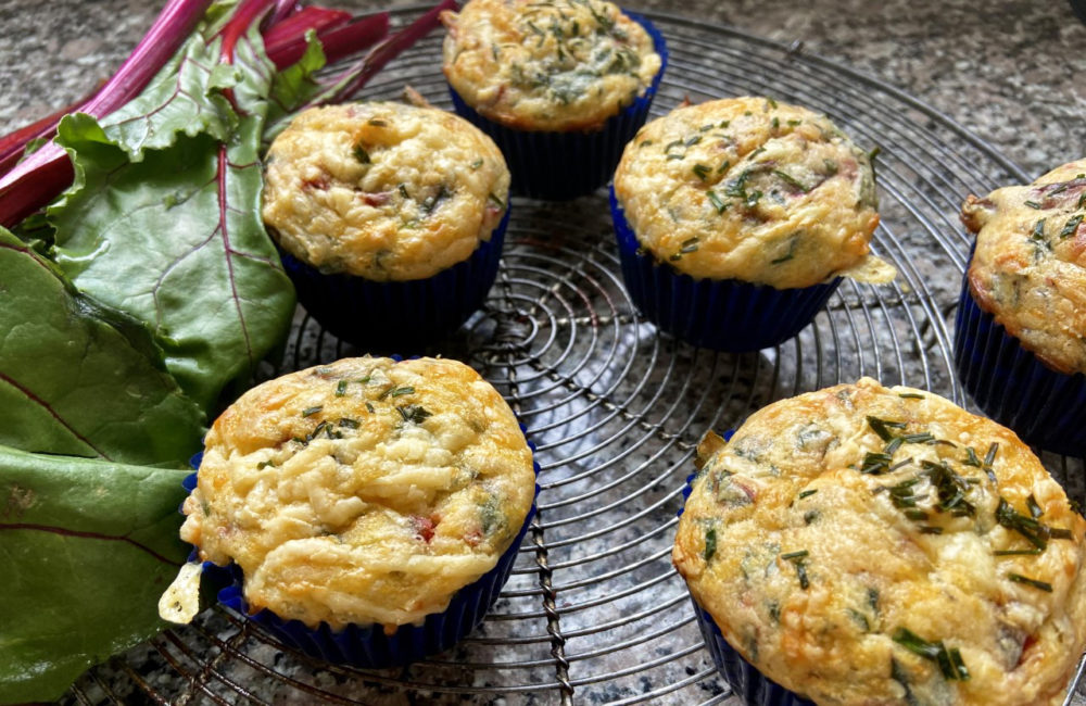 Beet Greens And Stems And Sharp Cheddar Cheese Muffins (Kathy Gunst)
