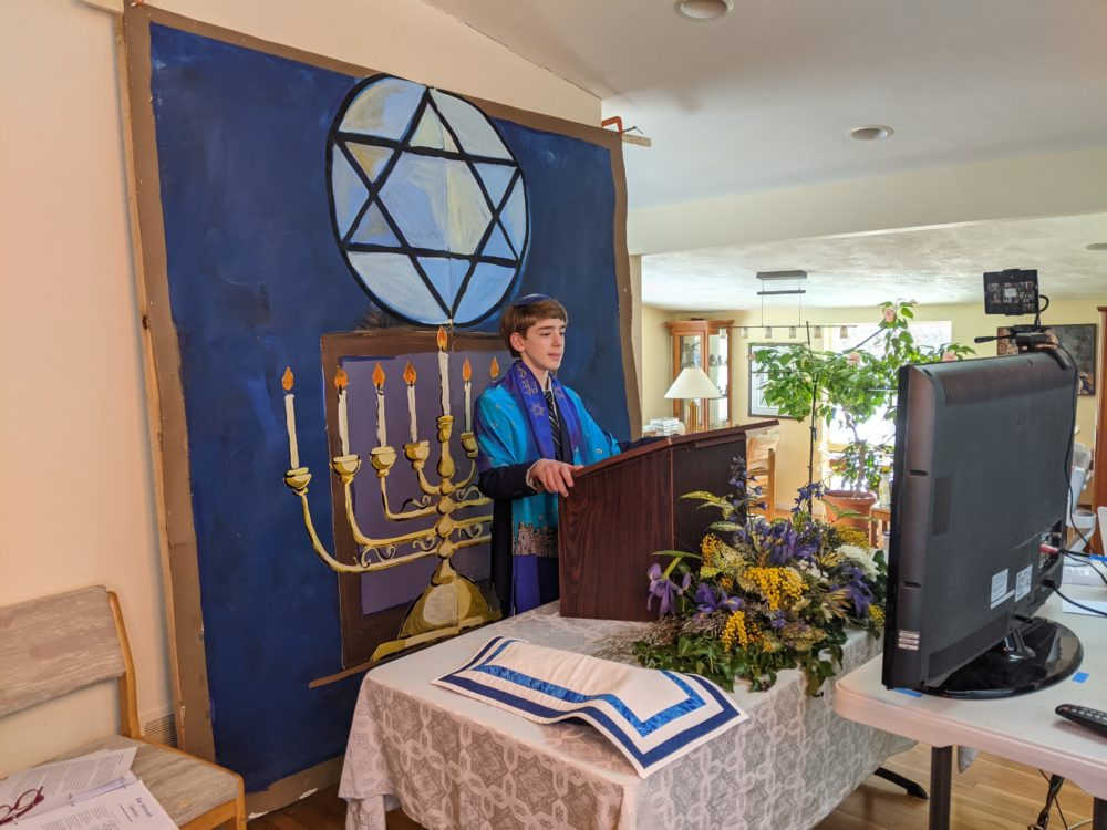 The author's son during his Zoom bar mitzvah, in the family's living room. (Courtesy).