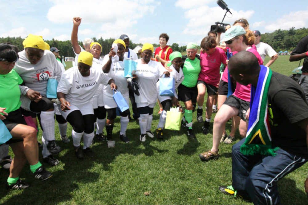 The Soccer Grannies dancing with the author's soccer team, the Lexpressas, in 2010, in Lancaster, Mass. (Tessa Gordon)