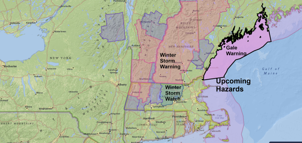 Watches and warnings are posted for much of the northeast. (NOAA Data/Dave Epstein for WBUR)