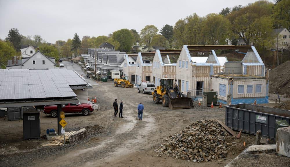 Passive house buildings under construction at the Hillside Center for Sustainable Living in Newburyport, Mass. (Robin Lubbock/WBUR)