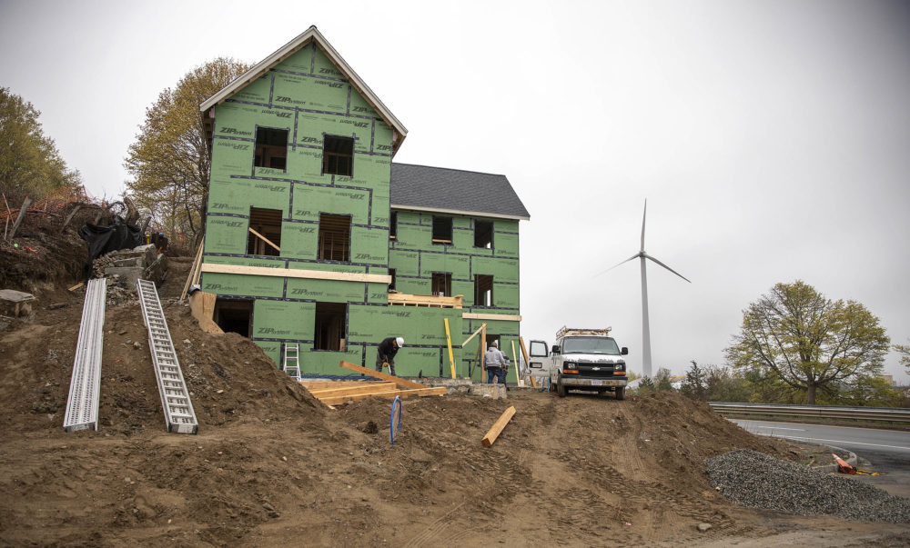The new ten-unit Single Room Occupancy YWCA under construction at the Hillside Center in Newburyport, Mass. (Robin Lubbock/WBUR)