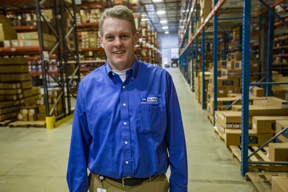 CEO Rick Green in the 1A Auto Parts distribution center in Littleton. (Jesse Costa/WBUR)