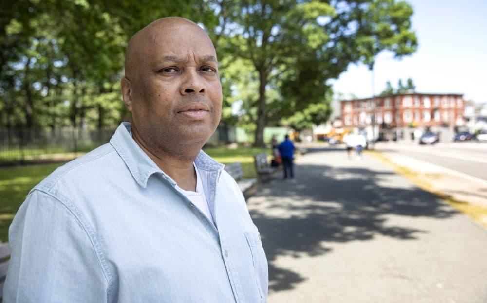 Boston Police Detective Larry Ellison,near Franklin Park in Boston. (Robin Lubbock/WBUR)