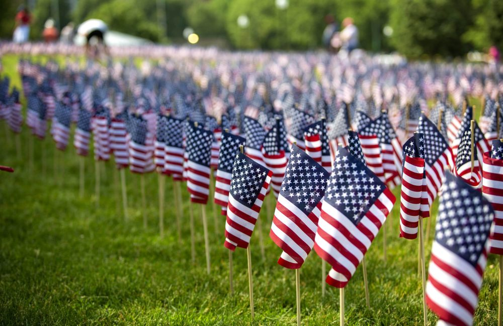 American flags placed in the Boston Common ahead of Memorial Day. (Robin Lubbock/WBUR)