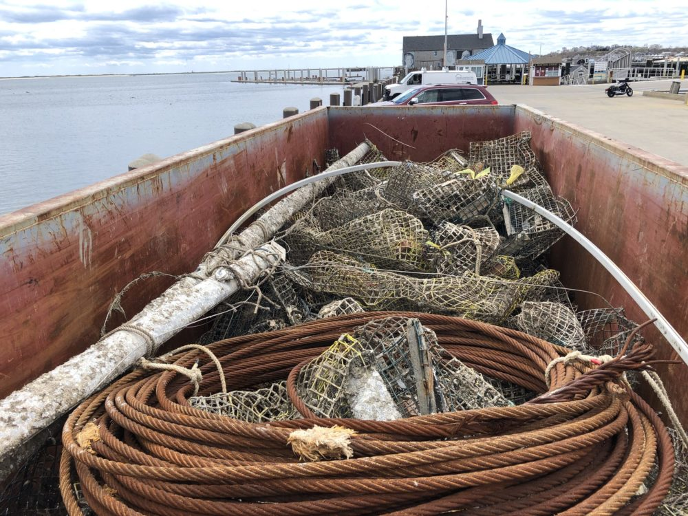 Lobster traps, steel wire cable and rigging spars, all removed from Cape Cod Bay, headed for the metal recycling yard. (Courtesy Center for Coastal Studies)