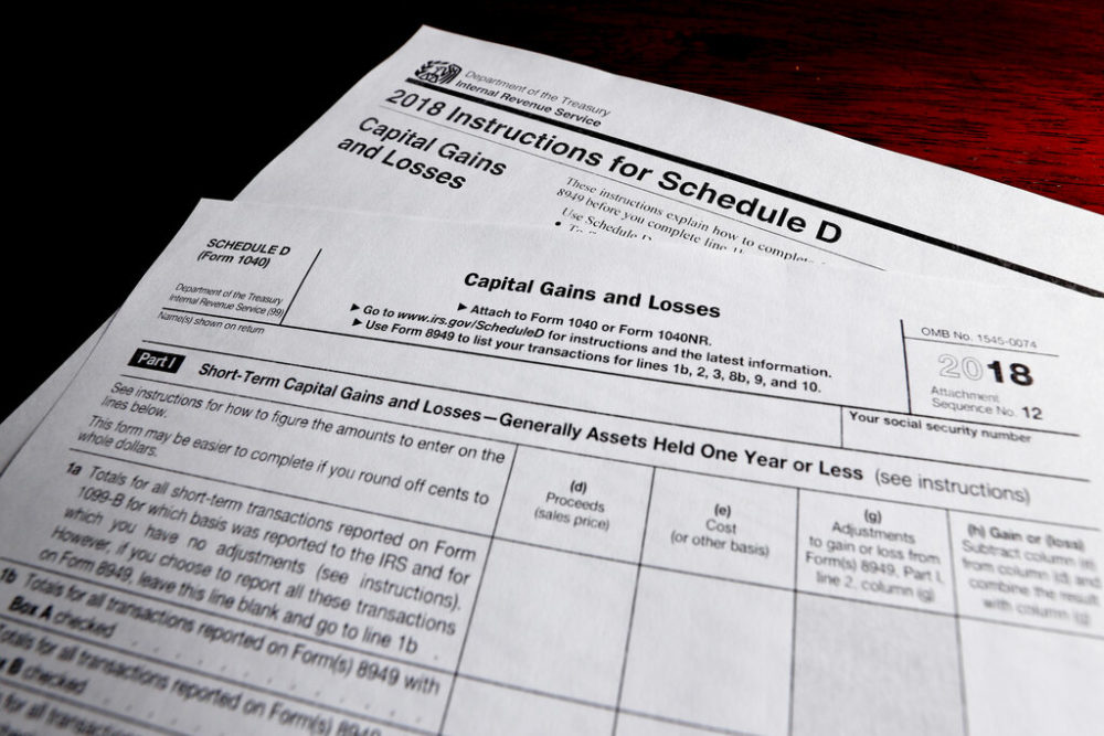 A schedule D form and instructions printed from the IRS that are used for 2018 U.S. federal tax returns. (Keith Srakocic, File/AP Photo)