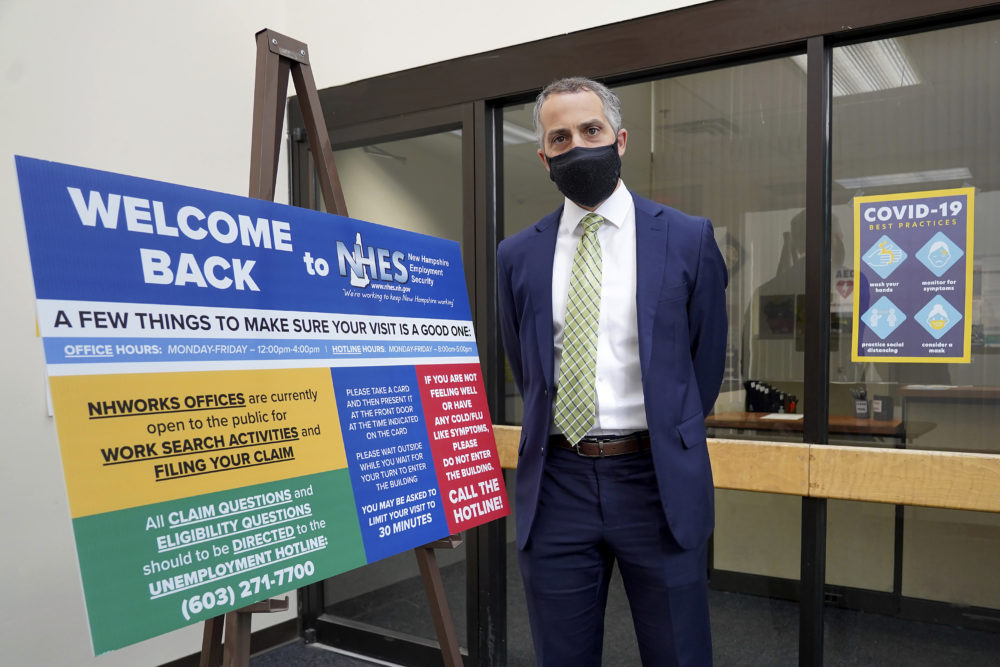 Richard Lavers, Deputy Commissioner of New Hampshire Employment Security, poses for a photo at a New Hampshire Works employment security job center, May 10, 2021, in Manchester, N.H. (Mary Schwalm/AP)