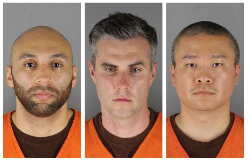 This combination of photos provided by the Hennepin County Sheriff's Office in Minnesota on Wednesday, June 3, 2020, shows from left, former Minneapolis police officers J. Alexander Kueng (left), Thomas Lane and Tou Thao. (Hennepin County Sheriff's Office via AP)