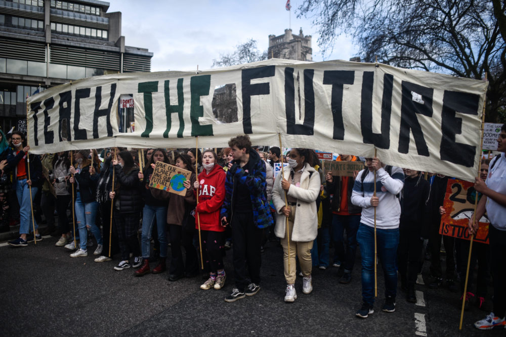 Students take part in a climate strike demo on Feb. 14, 2020 in London, England. (Peter Summers/Getty Images)