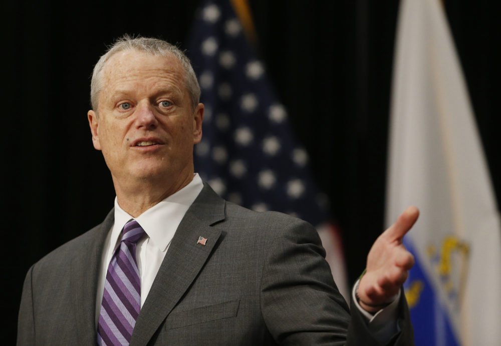 Gov. Charlie Baker during a press conference at the State House in Boston on April 26, 2021. (Jessica Rinaldi/The Boston Globe via Getty Images)
