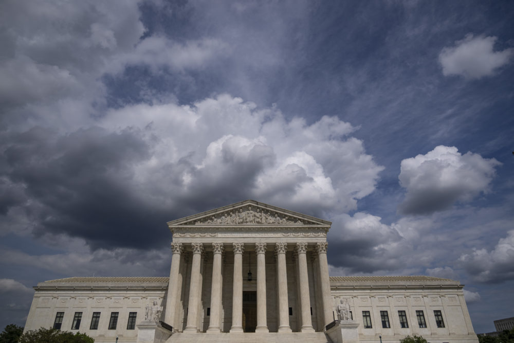 WASHINGTON, DC - MAY 17:  Clouds are seen above The U.S. Supreme Court building on May 17, 2021 in Washington, DC. The Supreme Court said that it will hear a Mississippi abortion case that challenges Roe v. Wade. They will hear the case in October, with a decision likely to come in June of 2022. (Drew Angerer/Getty Images)