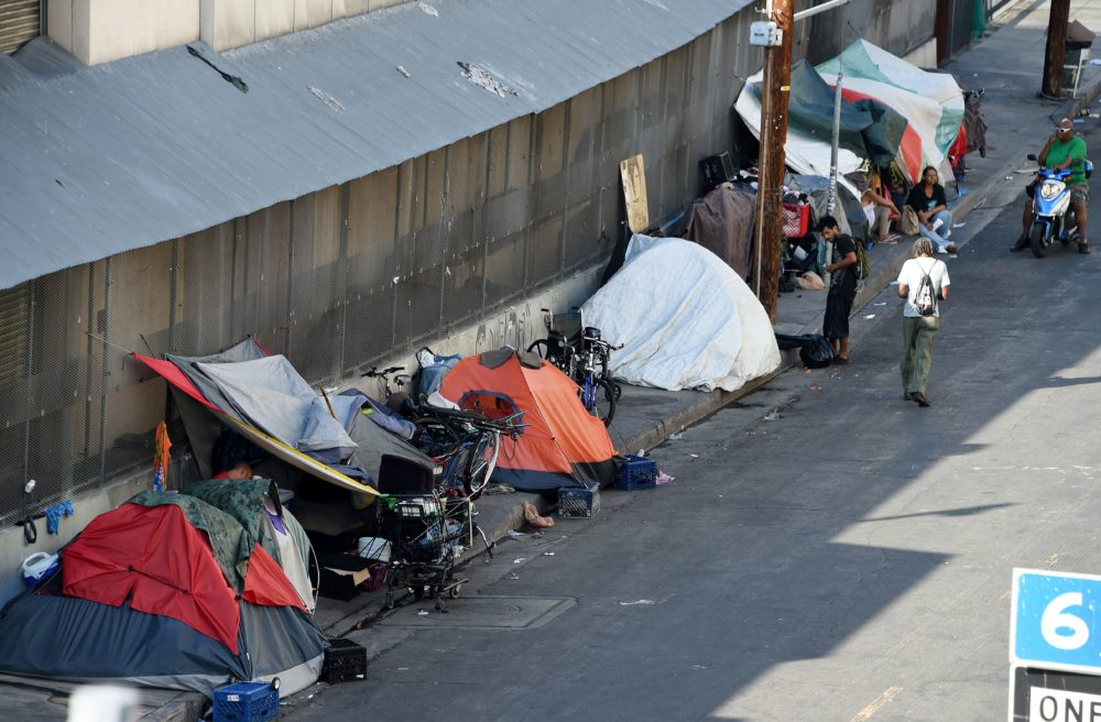 Tents are placed along Skid Row in Los Angles (Robyn Beck/AFP via Getty Images)