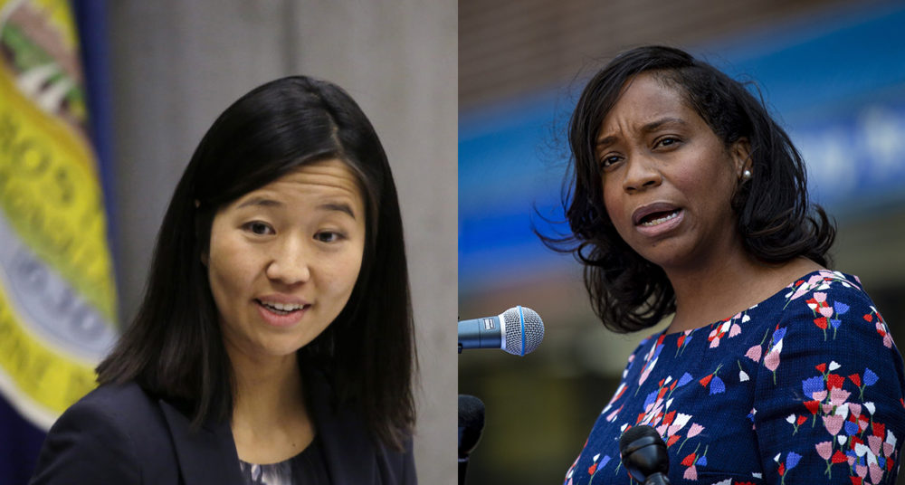 Michelle Wu and Andrea Campbell. (Elise Amendola/AP and Jesse Costa/WBUR, composite image)