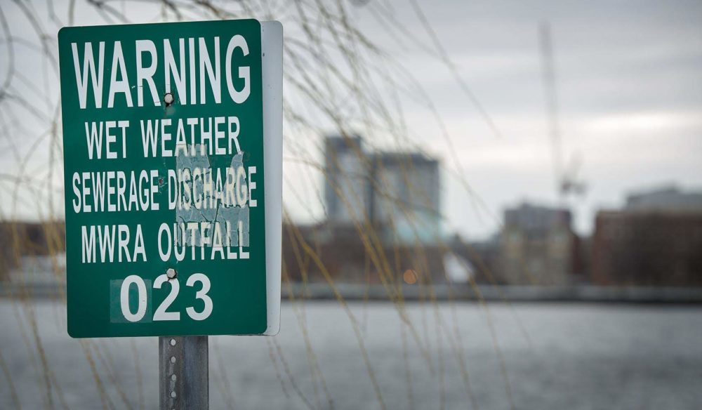 An MWRA wet weather sewage discharge outfall warning on the Charles River by the outlet of Boston's Muddy River. (Robin Lubbock/WBUR)