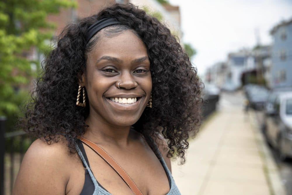 Sherika Beck, near her home. (Robin Lubbock/WBUR)