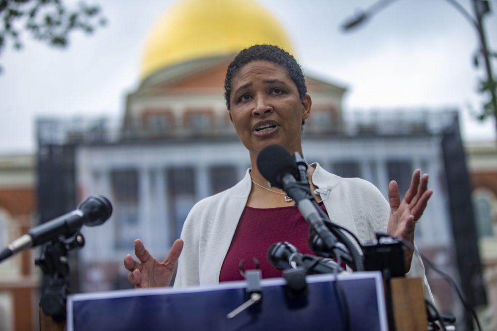 Danielle Allen announces her candidacy for governor of Massachusetts on Tuesday. (Jesse Costa/WBUR)