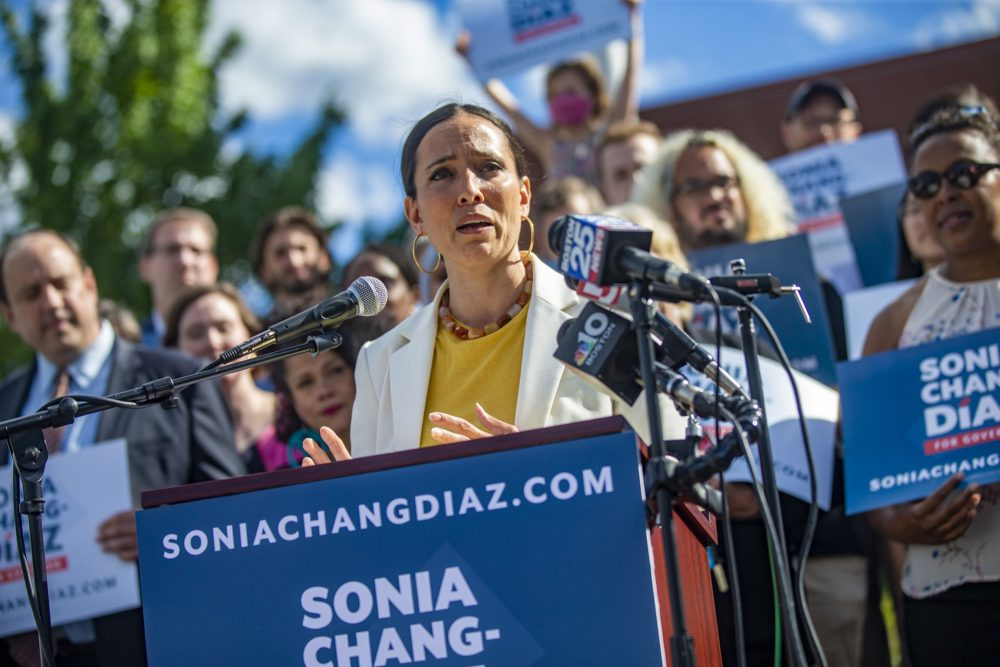 Sonia Chang-Diaz announces her candidacy for governor at a campaign event at Boston English High School in Jamaica Plain. (Jesse Costa/WBUR)