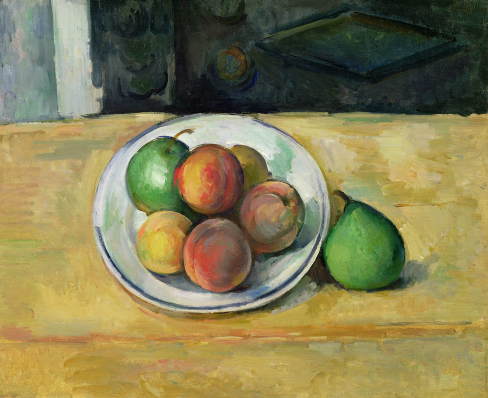 """""""Still Life with a Peach and Two Green Pears,"""" (circa 1883-87) by Paul Cézanne. (Courtesy Museum of Fine Arts, Boston)"""