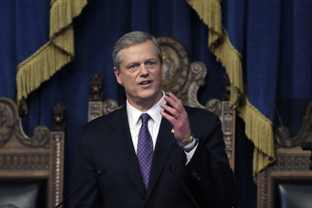 In this Tuesday, Jan. 21, 2020 file photo, Massachusetts Gov. Charlie Baker delivers his state of the state address in the House Chamber at the Statehouse in Boston.  (AP Photo/Steven Senne, File)