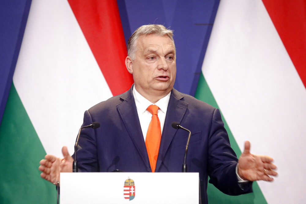 Hungarian prime minister Viktor Orban, speaks during a joint press conference in Budapest, Hungary. (AP Photo/Laszlo Balogh, file)