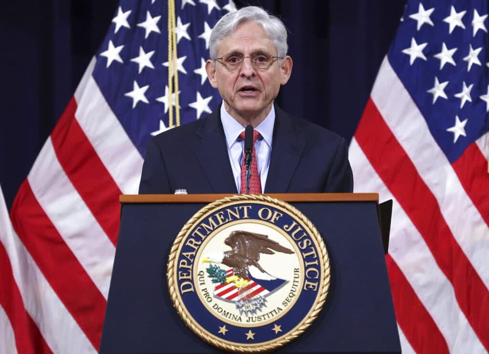 Attorney General Merrick Garland speaks at the Justice Department in Washington, on Tuesday, June 15, 2021. (Win McNamee/Pool via AP)