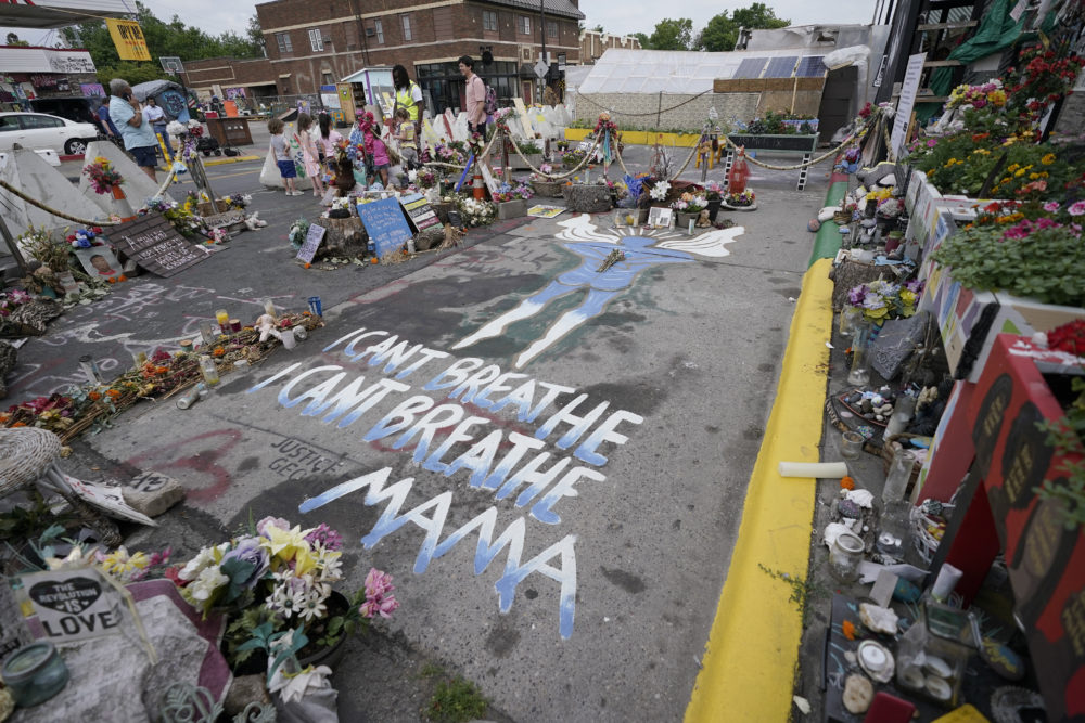 A general view shows the site where George Floyd was killed by then Minneapolis Police officer Derek Chauvin taken on June 24, 2021 in Minneapolis. Chauvin is scheduled to be sentenced Friday. (Julio Cortez/AP)
