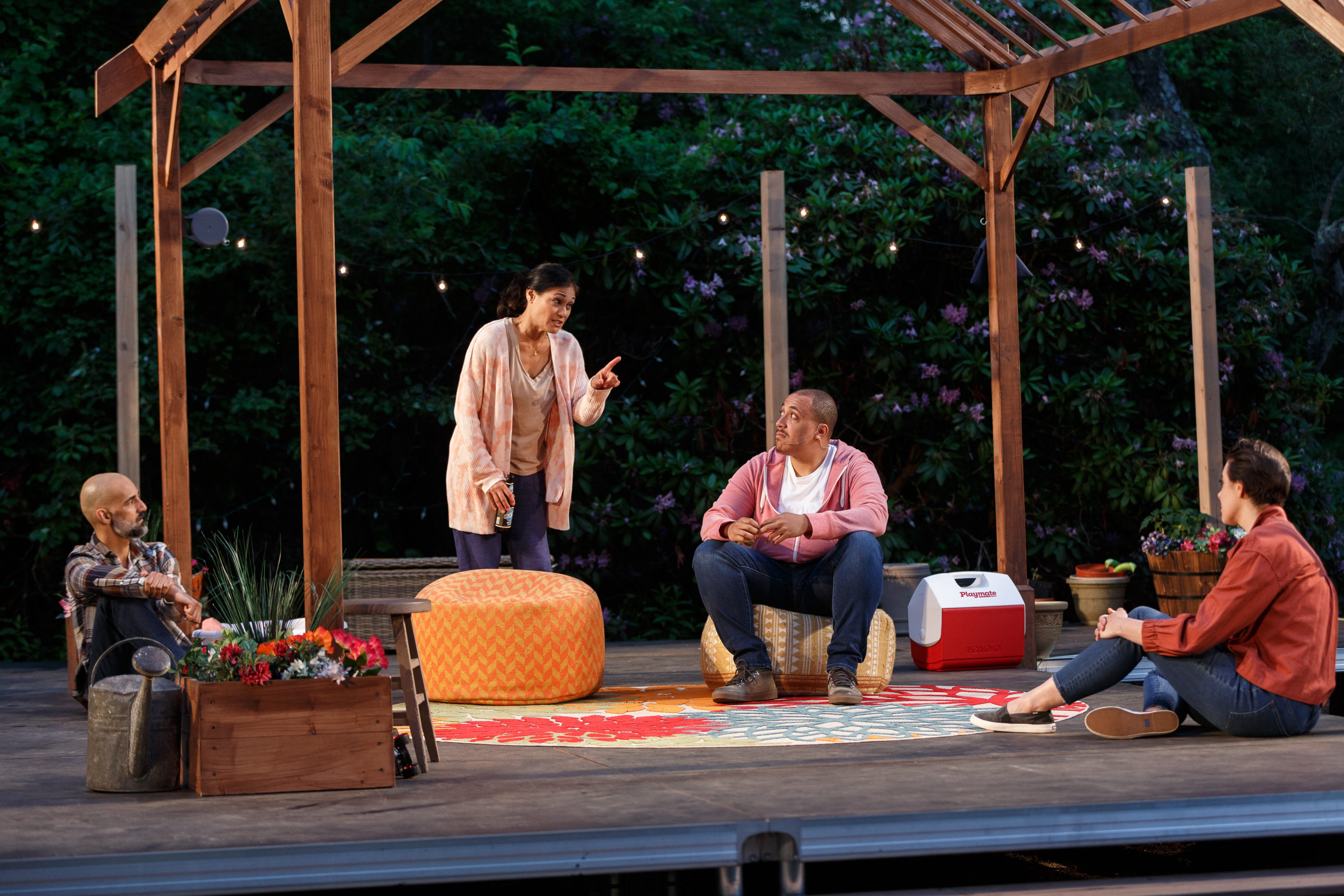 """Nael Nacer, Celeste Oliva, Adrian Peguero and Kelly Chick in """"Tiny Beautiful Things"""" by Gloucester Stage Company. Performed at Windhover Arts Center in Rockport. (Courtesy Jason Grow)"""