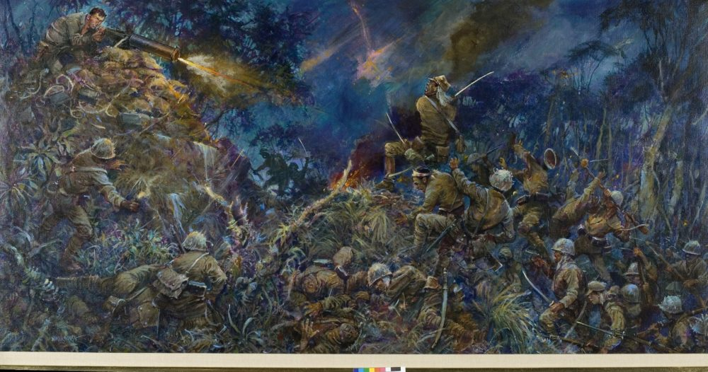 """John Basilone fighting in World War II. From """"Valor in Action."""" Painting by Charles Waterhouse. (Courtesy)"""